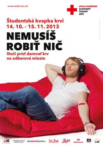 Študentská kvapka krvi 2013 - organizuje Slovenský Červený kríž