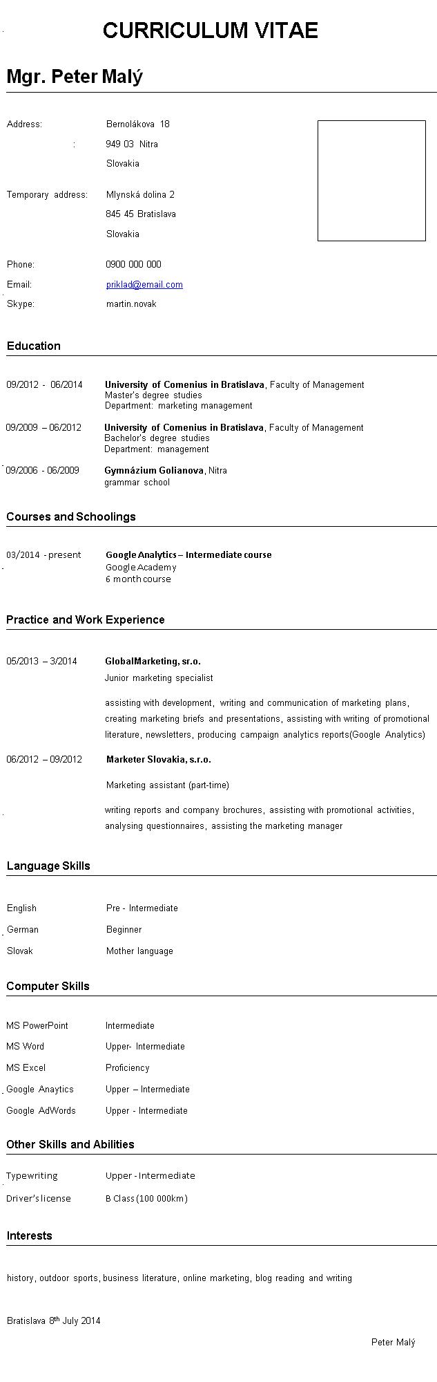 curriculum vitae vzor v anglictine