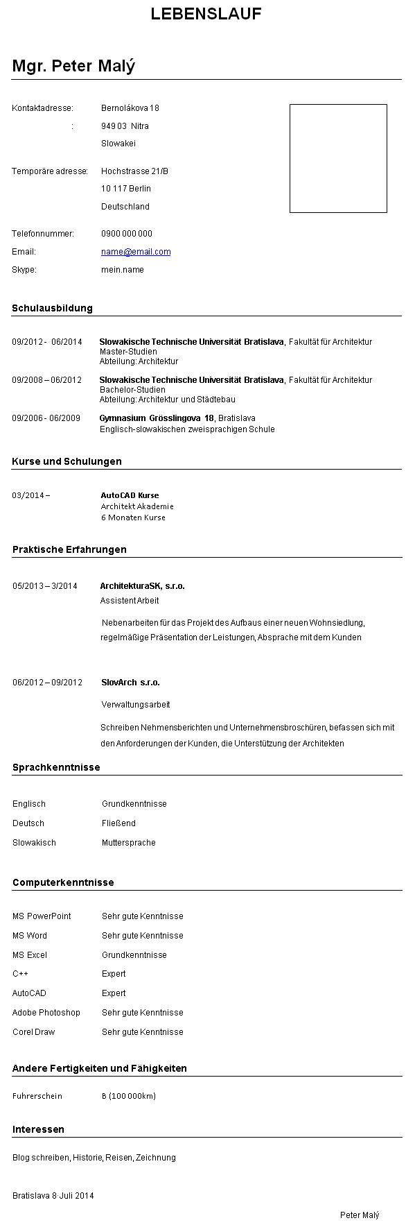 Vzor životopisu v nemeckom jazyku, vzor cv v nemčine