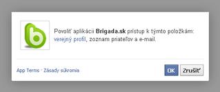Okno povolenia aplikacie Brigada.sk na FB